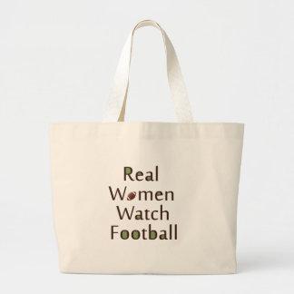 Fútbol del reloj de las mujeres reales bolsa tela grande