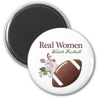 Fútbol del reloj de las mujeres reales imán redondo 5 cm