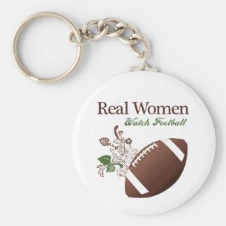 Fútbol del reloj de las mujeres reales llaveros personalizados