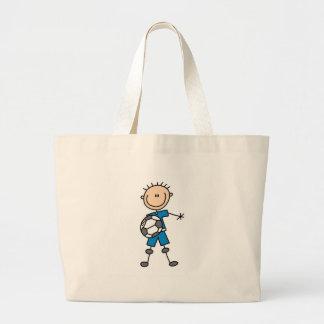 Fútbol del uniforme del azul del muchacho bolsa tela grande