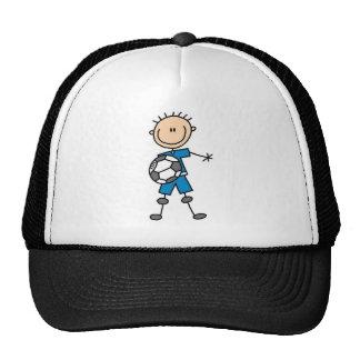 Fútbol del uniforme del azul del muchacho gorro
