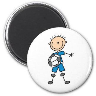 Fútbol del uniforme del azul del muchacho imán redondo 5 cm