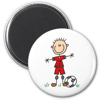 Fútbol del uniforme del rojo del muchacho imán redondo 5 cm
