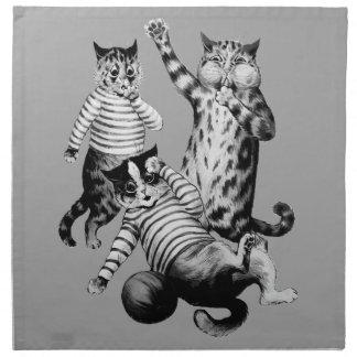 Fútbol divertido del vintage que juega gatos servilleta de papel