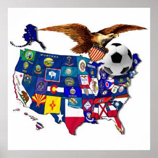 Fútbol Eagle de Estados Unidos los E E U U Poster