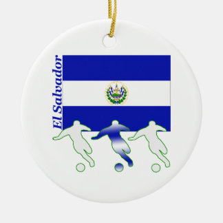 Fútbol El Salvador Adorno Navideño Redondo De Cerámica