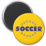 Fútbol en azul imán redondo 5 cm