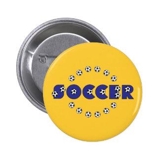 Fútbol en azul pin redondo 5 cm