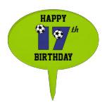 Fútbol en el 17mo cumpleaños del azul figura de tarta