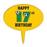 Fútbol en el 17mo cumpleaños del verde figura para tarta
