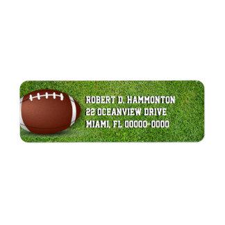 Fútbol en la hierba etiquetas de remite