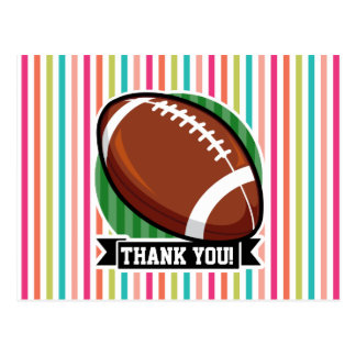 Fútbol en rayas coloridas postal