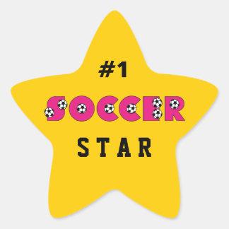 Fútbol en rosa con los balones de fútbol calcomanías forma de estrellas personalizadas