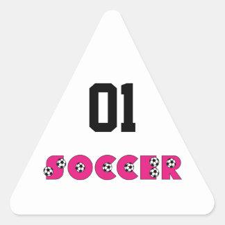 Fútbol en rosa con los balones de fútbol calcomanías de triangulos