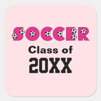 Fútbol en rosa con los balones de fútbol pegatinas cuadradas
