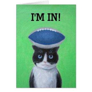 Fútbol en tarjeta de felicitación del gato