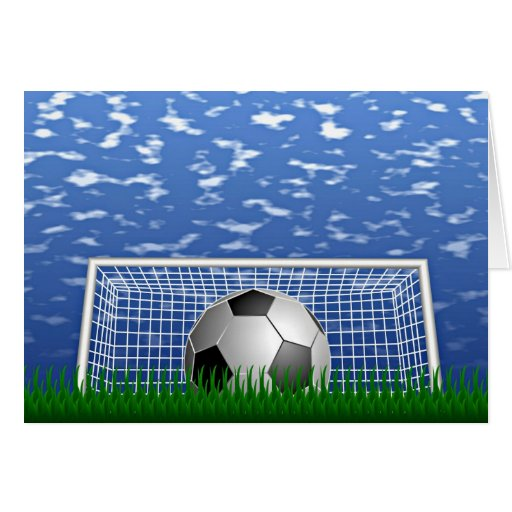 Fútbol en un día de verano tarjeta