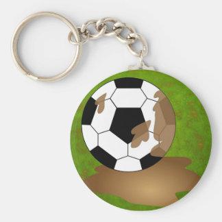 Fútbol fangoso llavero redondo tipo pin