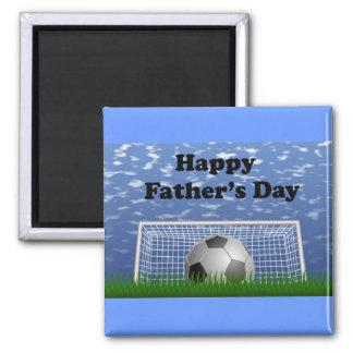 Fútbol feliz del día de padres imán cuadrado
