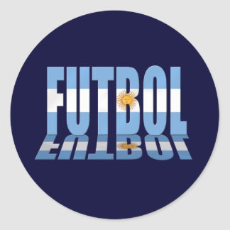 Futbol flag worded soccer lovers Argentina gifts Classic Round Sticker