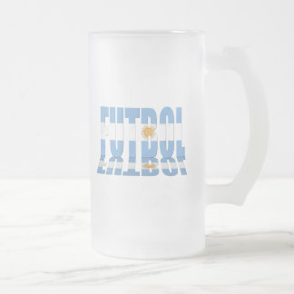 Futbol flag worded soccer lovers Argentina gifts Frosted Glass Beer Mug