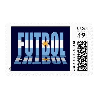 Futbol flag worded soccer lovers Argentina gifts Stamp