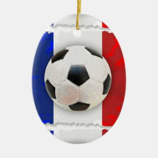 Fútbol francés adorno navideño ovalado de cerámica