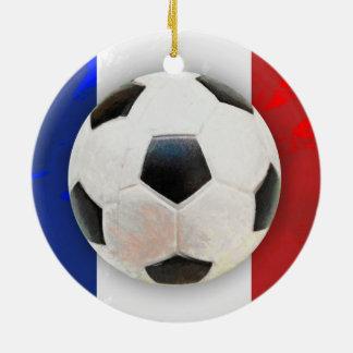 Fútbol francés adorno navideño redondo de cerámica
