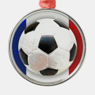 Fútbol francés adorno navideño redondo de metal