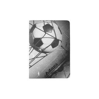 Fútbol fresco del Grunge del vintage en la meta Porta Pasaportes