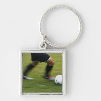 Fútbol (fútbol) 6 llavero cuadrado plateado