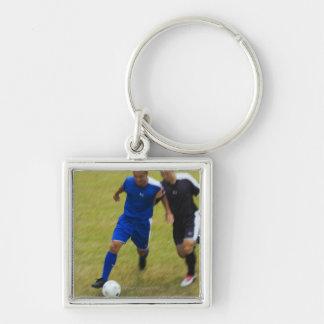 Fútbol (fútbol) 8 llavero cuadrado plateado