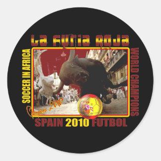 Fútbol Futbol de Bull del español de Furia Roja Pegatina Redonda