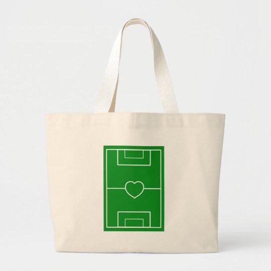 fútbol, fútbol del amor del corazón Pitch.l Bolsa De Tela Grande