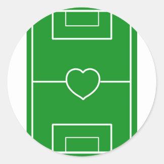 fútbol, fútbol del amor del corazón Pitch.l Pegatina Redonda