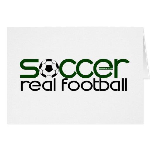 Fútbol = fútbol real tarjeta de felicitación