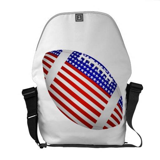 Fútbol inclinado con el diseño de la bandera ameri bolsas de mensajeria