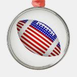 Fútbol inclinado con el diseño de la bandera ameri ornaments para arbol de navidad