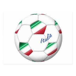 FÚTBOL ITALIA balón y bandera del equipo nacional Tarjeta Postal