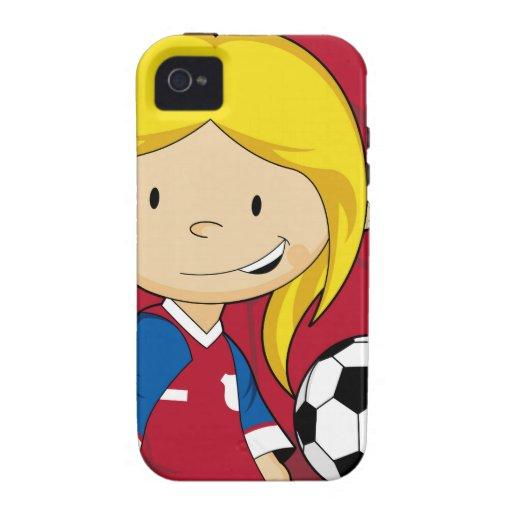 Fútbol lindo del fútbol del dibujo animado iPhone 4/4S fundas