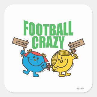 Fútbol loco pegatina cuadradas personalizada