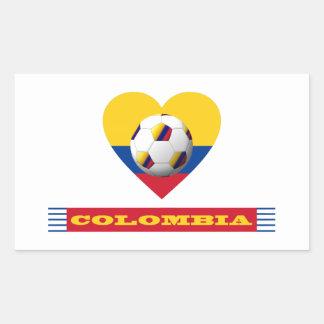 FÚTBOL nacional y bandera de COLOMBIA 2014 Pegatina Rectangular