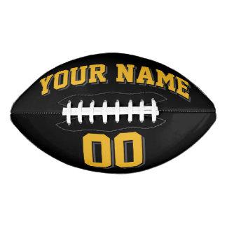 Fútbol NEGRO del personalizado del GRIS del ORO Y Balón De Fútbol Americano