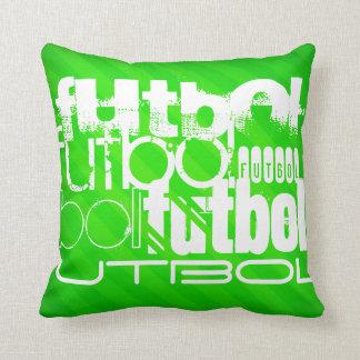 Futbol; Neon Green Stripes Pillows