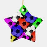 Fútbol o fútbol americano multicolor adorno navideño de cerámica en forma de estrella