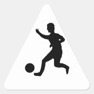 Fútbol o fútbol pegatina triangular