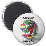 fútbol para el imán global de la bandera de la vid