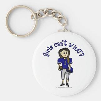 Fútbol para mujer azul claro llavero