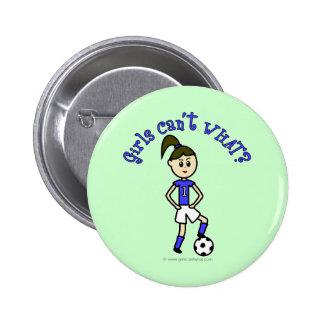 Fútbol para mujer ligero en uniforme del azul pin redondo de 2 pulgadas