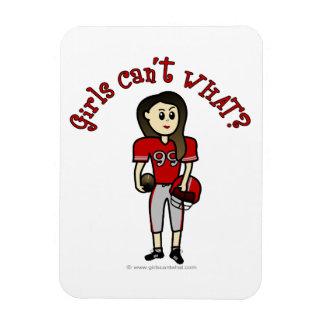 Fútbol para mujer rojo claro imanes de vinilo